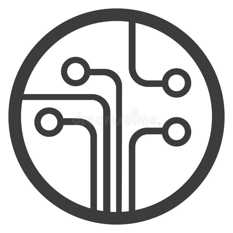 Illustration plate de vecteur de symbole de plan de technologie illustration stock