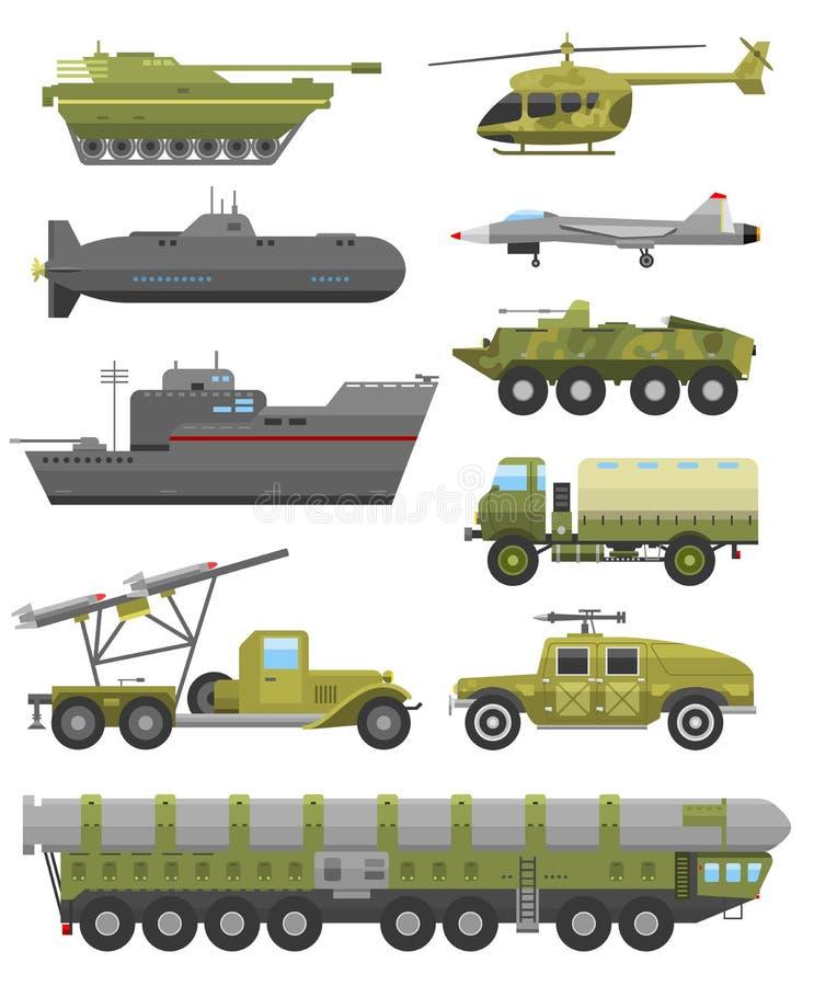 Illustration plate de vecteur de technique d'armure militaire de transport illustration libre de droits