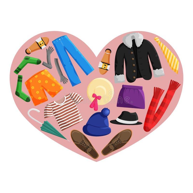 Illustration plate de vecteur des vêtements de donation illustration stock