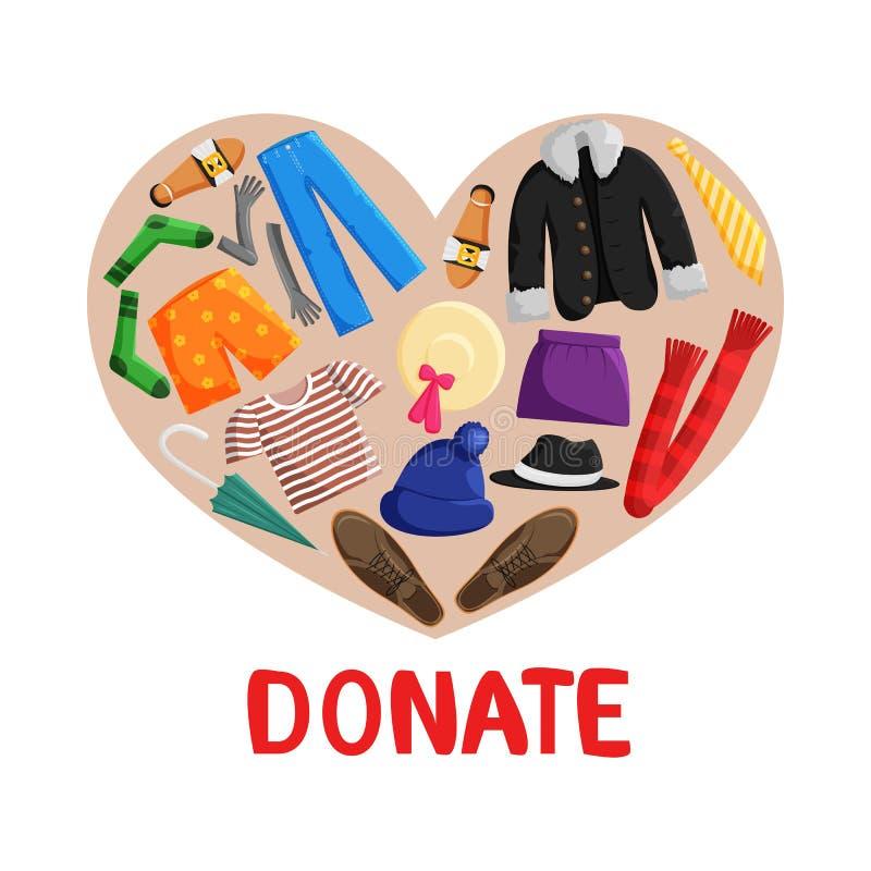 Illustration plate de vecteur des vêtements de donation illustration de vecteur