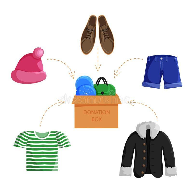 Illustration plate de vecteur de donation de vêtements illustration stock