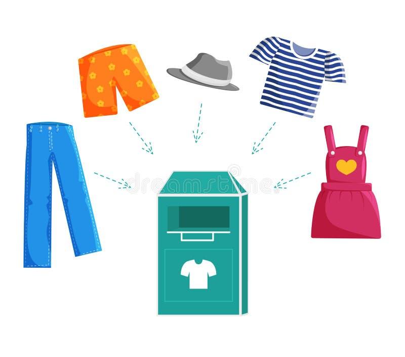Illustration plate de vecteur de donation de vêtements illustration libre de droits