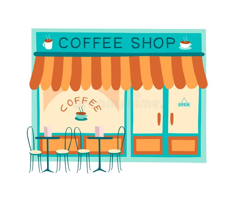 Illustration plate de vecteur de façade de café image stock