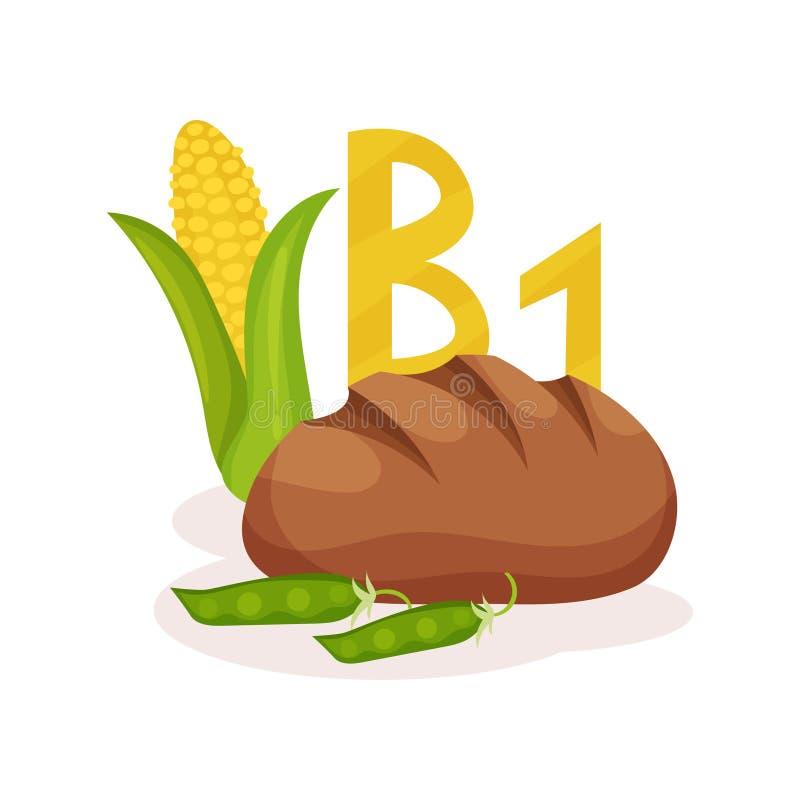 Illustration plate de vecteur de maïs, de pois et de pain de seigle Produits avec de la thiamine de la vitamine B1 Thème de nutri illustration libre de droits