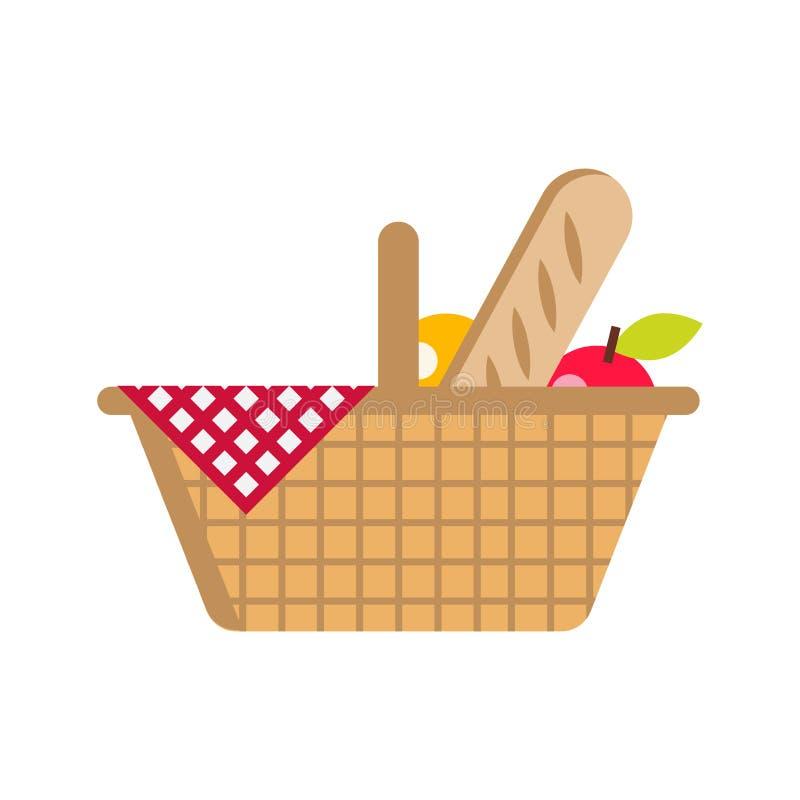 Illustration plate de vecteur Panier de pique-nique avec la nourriture Pain, pomme, orange et serviettes dans une cage Sur un fon images stock
