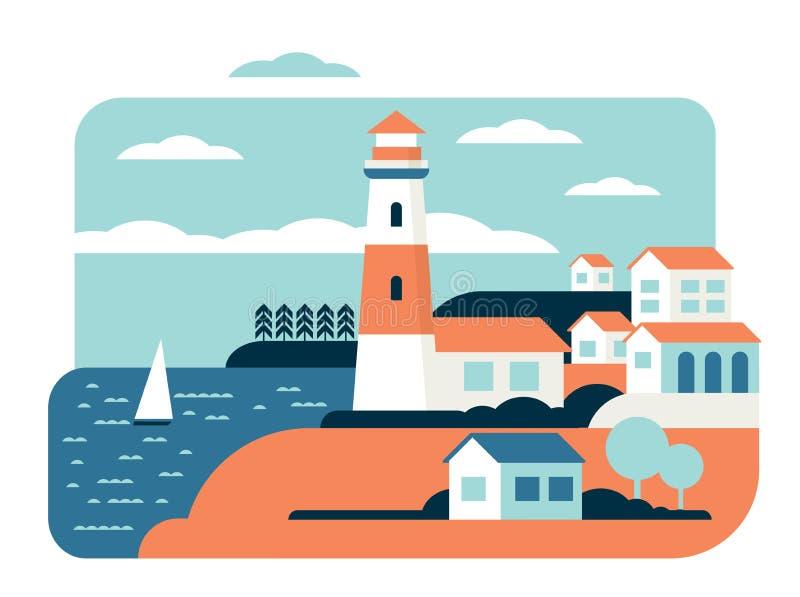 Illustration plate de vecteur de paysage merveilleux d'océan de phare illustration de vecteur