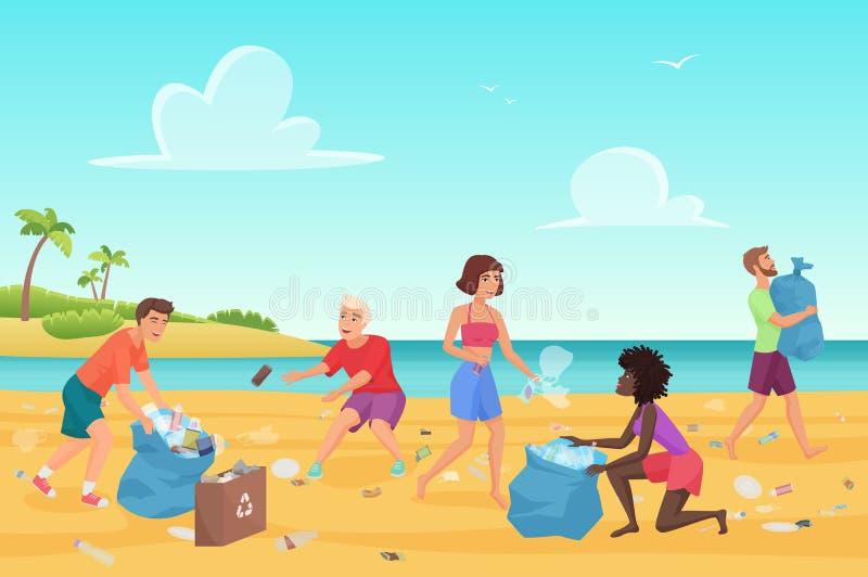Illustration plate de vecteur de personnes d'étudiants de nettoyage de plage illustration stock