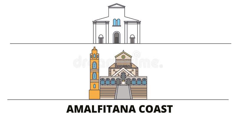 Illustration plate de vecteur de points de repère de côte de l'Italie, Amalfi Ligne ville avec des vues célèbres de voyage, horiz illustration libre de droits