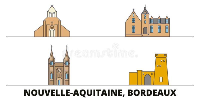 Illustration plate de vecteur de points de repère de la France, Bordeaux Ligne ville avec des vues célèbres de voyage, horizon de illustration libre de droits