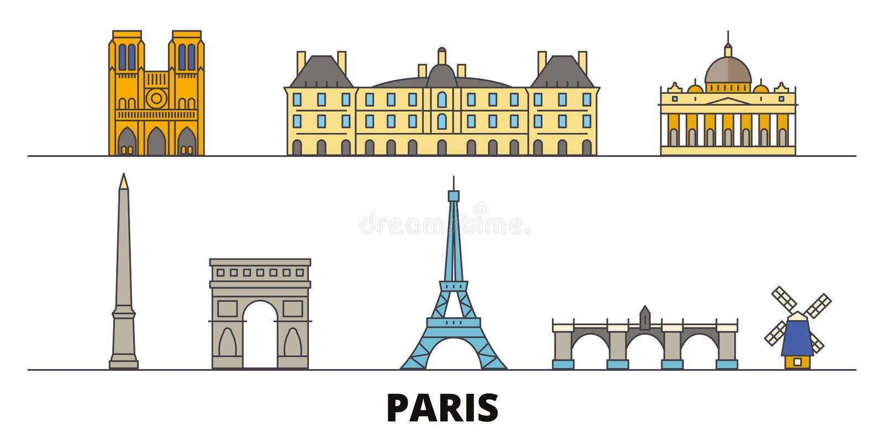 Illustration plate de vecteur de points de repère de la France, Paris Ligne ville avec des vues célèbres de voyage, horizon, conc illustration libre de droits