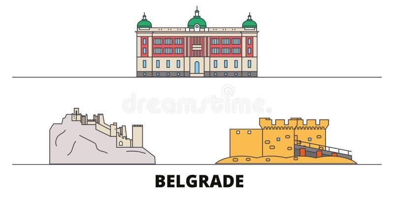 Illustration plate de vecteur de points de repère de la Serbie, Belgrade Ligne ville avec des vues célèbres de voyage, horizon de illustration de vecteur