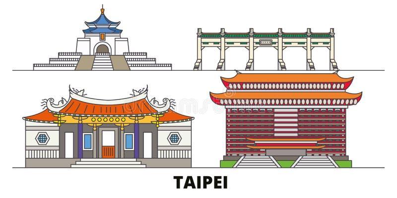 Illustration plate de vecteur de points de repère de Taïwan, Taïpeh Ligne ville avec des vues célèbres de voyage, horizon, concep illustration de vecteur
