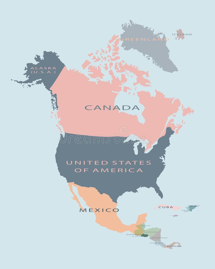 Illustration plate de vecteur politique de carte de l'Amérique du Nord illustration de vecteur