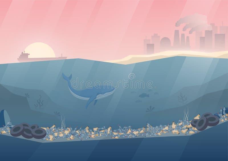 Illustration plate de vecteur de pollution d'océan Pollution marine Baleine sous-marine illustration stock