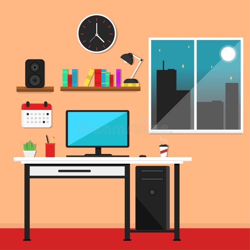 Illustration plate de vecteur de poste de travail illustration de vecteur
