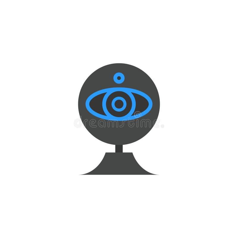 Illustration plate de vecteur de style de bande dessinée d'icône de webcam illustration de vecteur