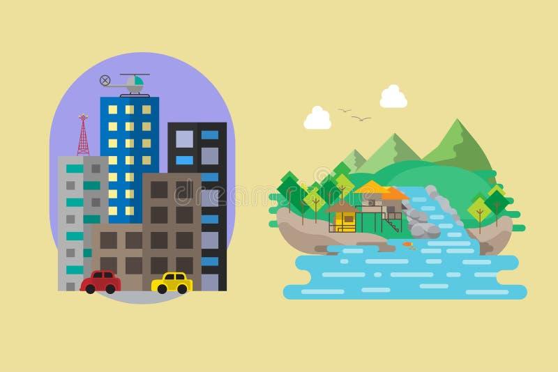 Illustration plate de vecteur de style du centre ville et de campagne illustration de vecteur