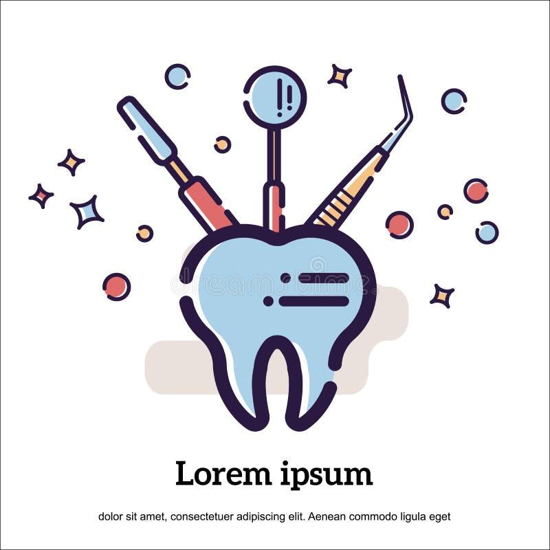 Illustration plate de vecteur sur le fond blanc dans le style de bande dessinée Dent et instruments et équipement dentaires Miroi illustration stock
