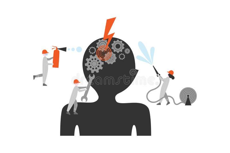 Illustration plate de vecteur de traitement d'encéphalopathie illustration libre de droits