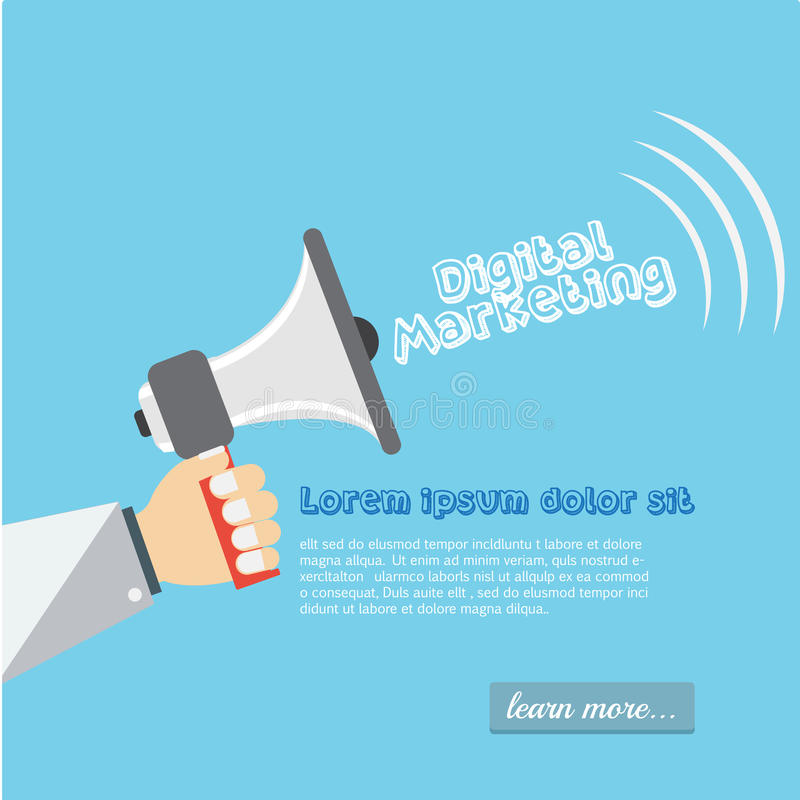 Illustration plate de vente de Digital Main avec le haut-parleur illustration de vecteur