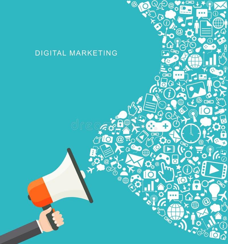 Illustration plate de vente de Digital Main tenant le mégaphone illustration stock