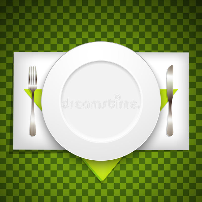 Illustration with plate, fork and knife royalty free illustration