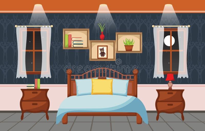 Illustration plate intérieure de conception de pièce de sommeil de chambre à coucher illustration libre de droits