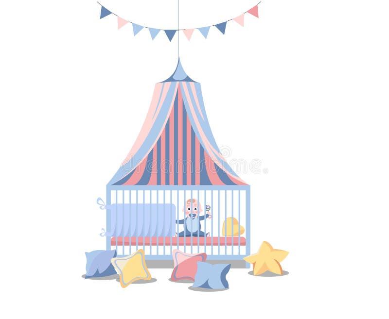 Illustration plate intérieure de vecteur d'enfant de pièce nouveau-née de crèche des meubles de chambre à coucher Bébé avec la té illustration de vecteur