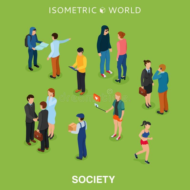 Illustration plate isométrique de vecteur de foule de personnes Support différent d'homme et de femme, entretien, téléphone d'app illustration libre de droits