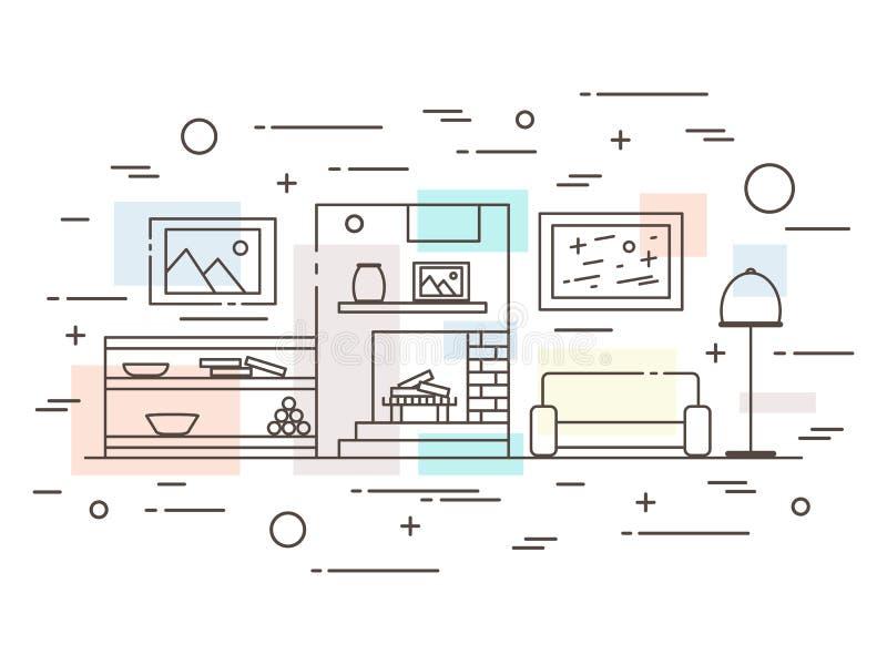 Illustration plate linéaire de conception intérieure d'appartement vivant de concepteur moderne illustration de vecteur