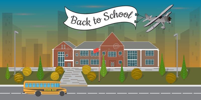 Illustration plate lumineuse du bâtiment scolaire et de l'autobus scolaire illustration de vecteur