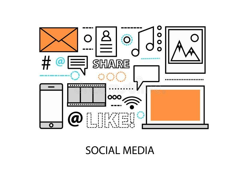 Illustration plate moderne de vecteur de conception, concept de media social, mise en réseau sociale, communtity de Web et actual illustration libre de droits
