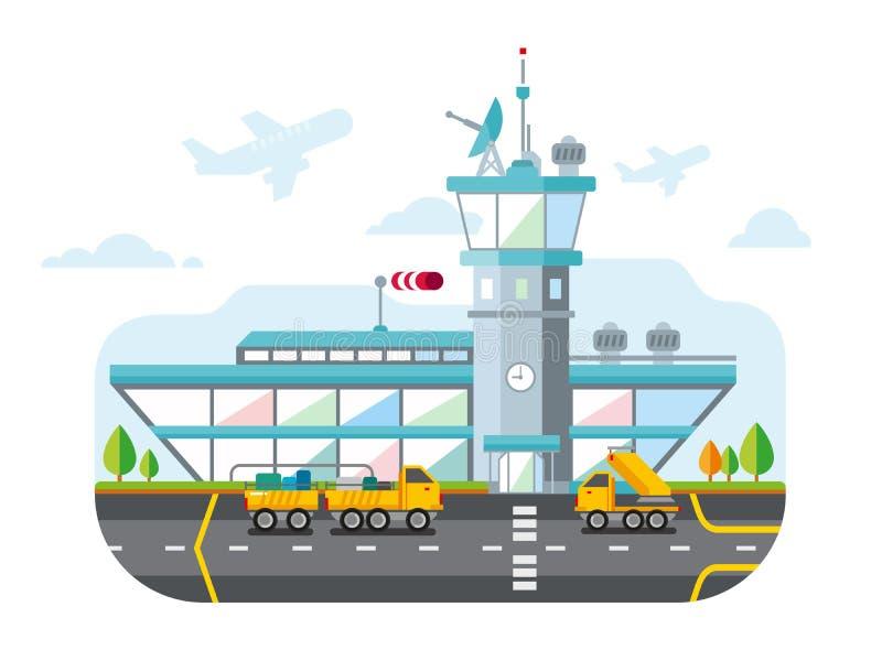 Illustration plate moderne de vecteur de conception d'aéroport illustration de vecteur