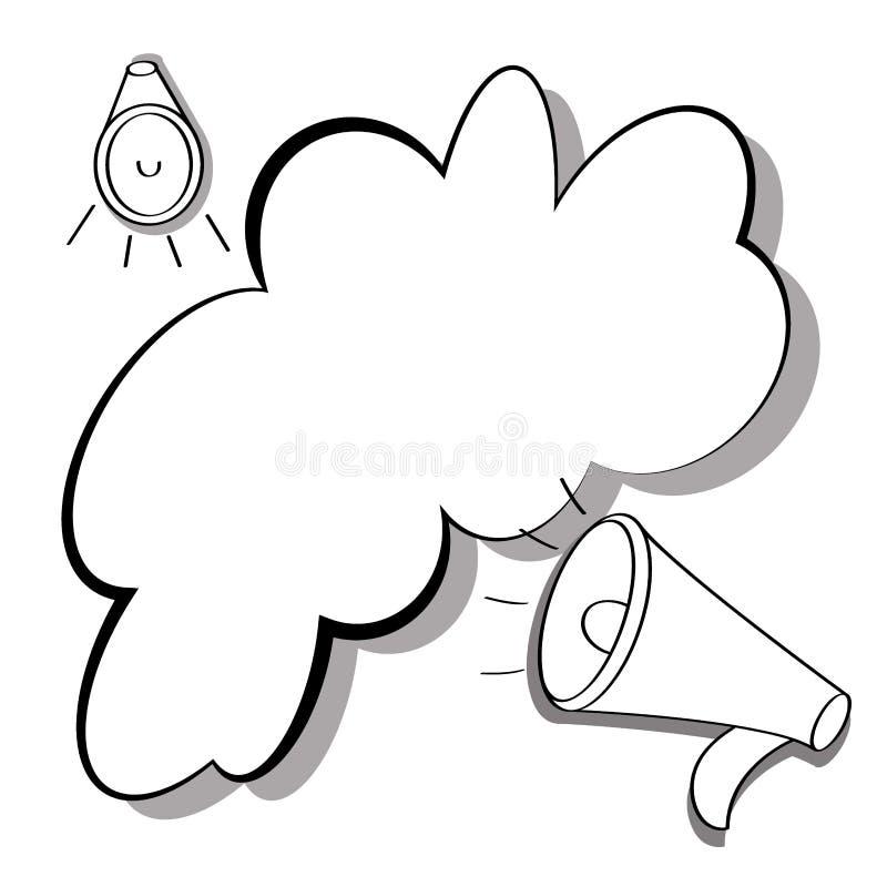 Illustration plate noire et blanche du haut-parleur, icône du klaxon, mégaphone avec la bulle de la parole pour le texte Vecteur  illustration de vecteur