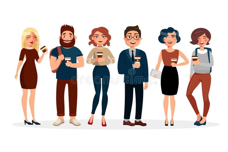 Illustration plate potable de vecteur de café de personnes Personnages de dessin animé des jeunes avec la tasse de café passant l illustration de vecteur