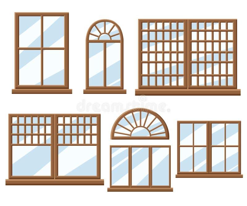Illustration plate réglée de style de conception d'icône de fenêtre illustration libre de droits