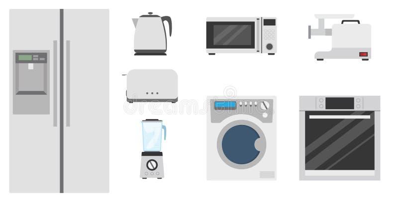 Illustration plate réglée de vecteur de vaisselle de cuisine image libre de droits