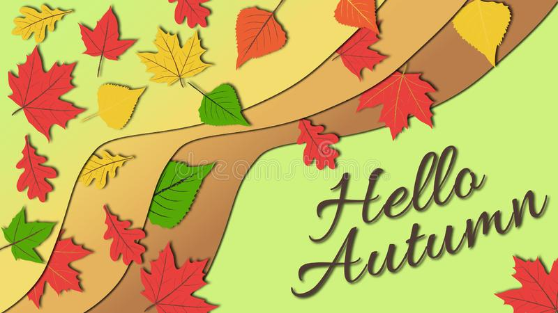 Illustration plate simple de conception dans des tons subtils et calmes de couleur des feuilles d'automne colorées avec bonjour l photos libres de droits