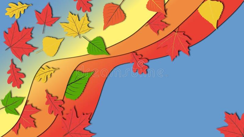Illustration plate simple de conception dans des tons vifs de couleur des feuilles d'automne colorées avec l'espace de copie photographie stock