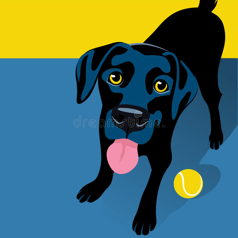 Illustration of playful Black Labrador Retriever with tennis ball vector illustration