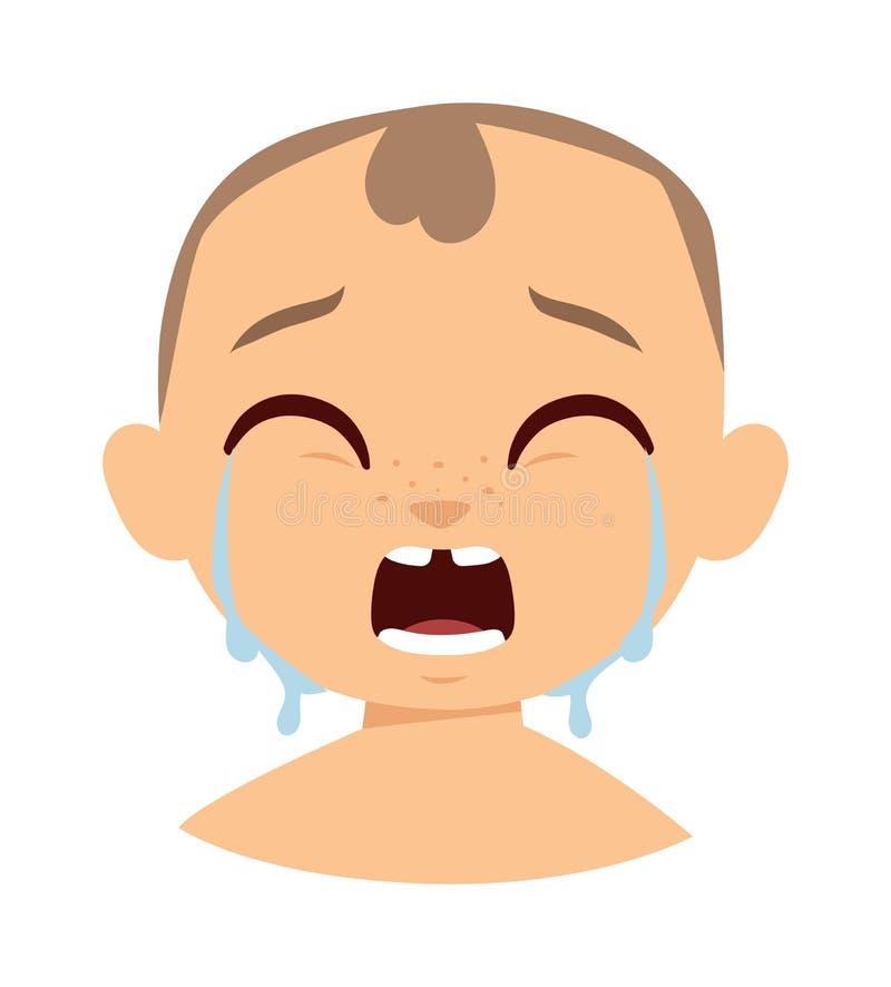 Illustration pleurante de vecteur de visage de garçon illustration de vecteur
