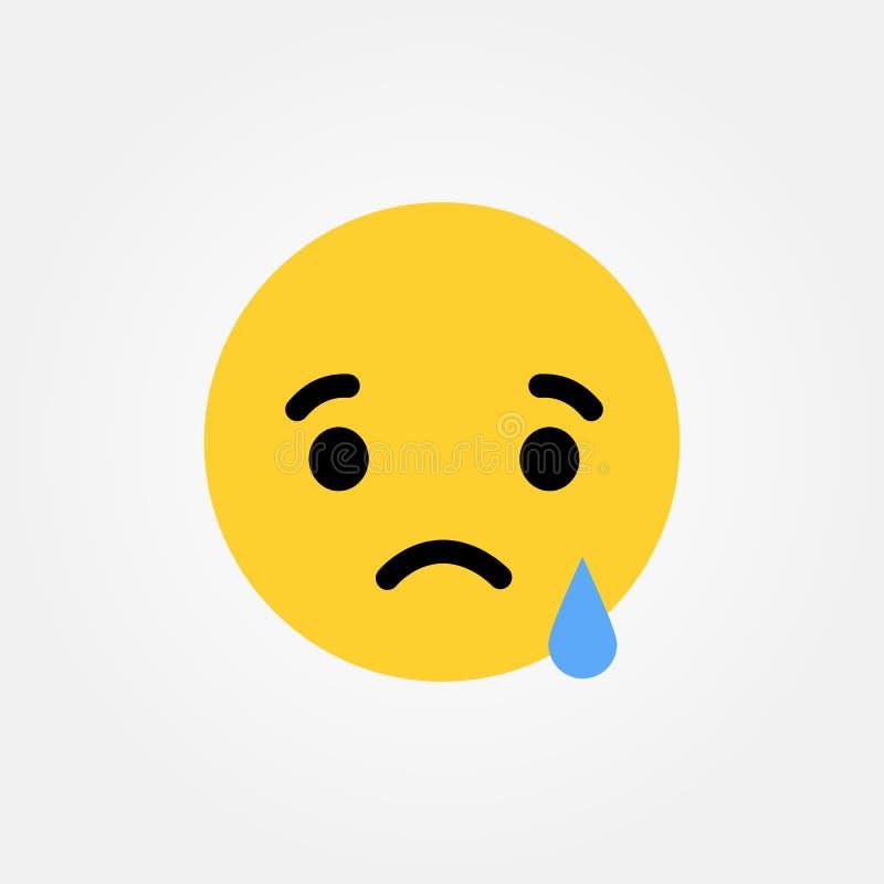 Illustration pleurante triste de vecteur d'émoticône illustration stock