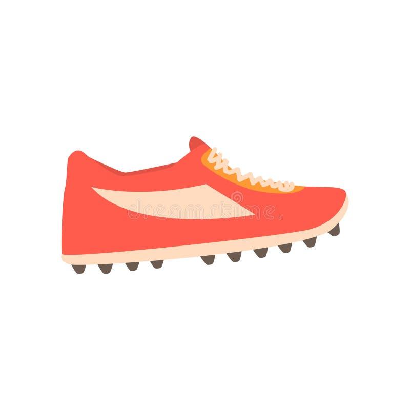 Illustration pointue rouge de vecteur de bande dessinée de chaussure du football illustration libre de droits