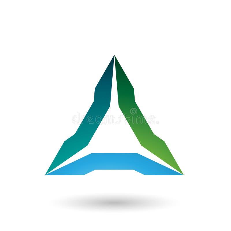 Illustration pointue verte et bleue de vecteur de triangle images libres de droits