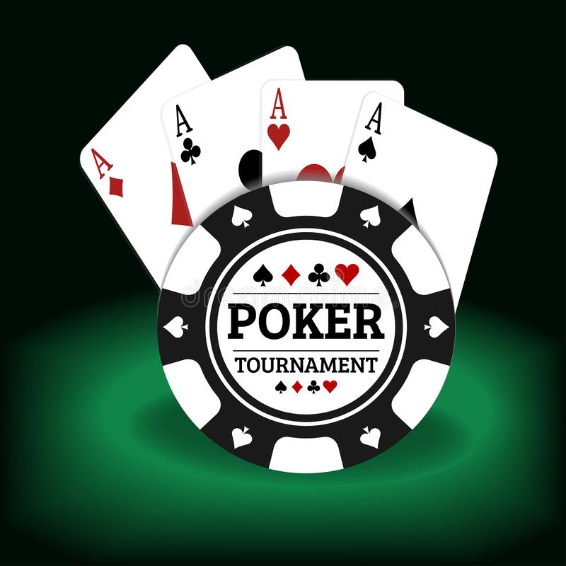 Illustration of poker tournament cards and chips on a green and black background royalty free illustration