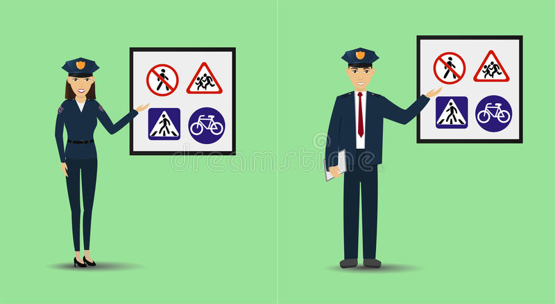 Illustration of a policeman and policewoman showing signage. Police people teaching road signs. Illustration of a policeman and policewoman showing signage stock illustration