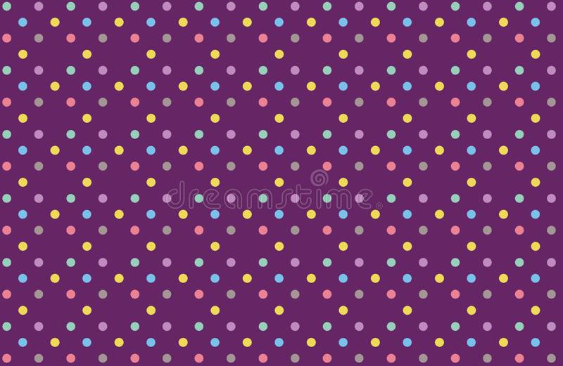 Illustration of polka dots fabric purple color background. Repeat, cloth, dress, shirt, skirt, blanket, new, colors, circle, graphic, creative, print, paper stock photography