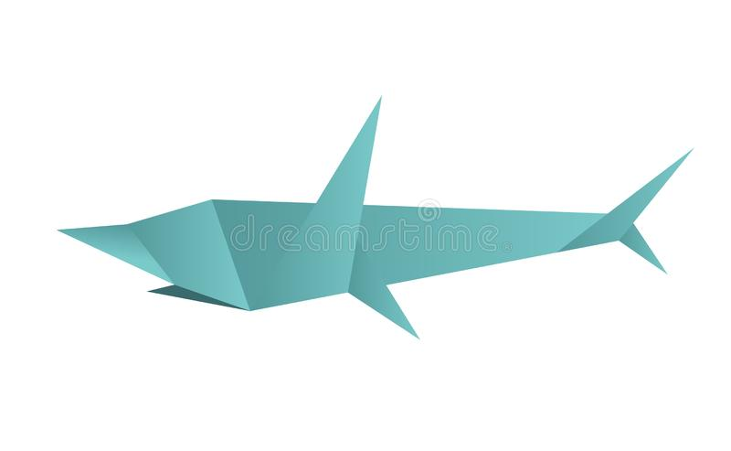 Illustration of polygonal, origami shark isolated on white background. Logo template. royalty free illustration