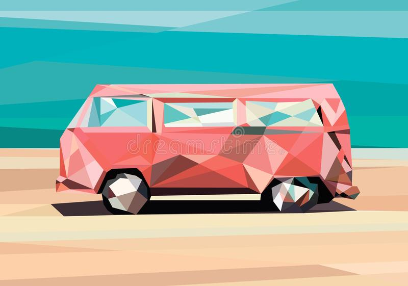 Low poly car. polygonal car. Illustration in polygonal style, car on the sand, colorful car, low poly style vector illustration