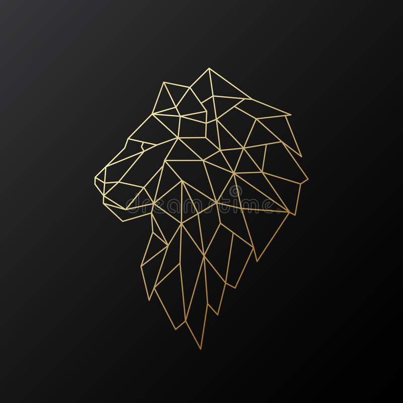 Illustration polygonale d'or de lion d'isolement sur le fond noir illustration stock